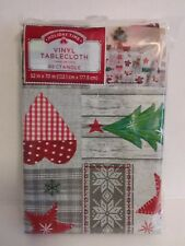 Vinyl tablecloth Holiday Time rectangle 52 x 70 inches