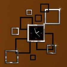 Moderne Wanduhr Spiegel Design Esszimmer Dekoration Wandtattoo Uhre Wanddeko Neu