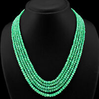 EMERALD /& SAPPHIRE ROUND BEADS NECKLACE 494.00 CTS EARTH MINED 6 STRAND RUBY