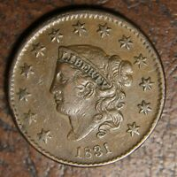 1831 Coronet Head Large Cents, N-7, Large Letters