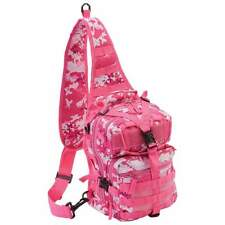 Pink Outdoor Camo Shoulder Sling Tactical Backpack, Womens Camp Hike Run Pack