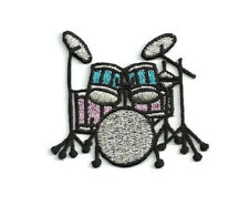 Drum - Drums - Band - Pink/Black/Silver/Turquoise Embroidered Iron On Patch