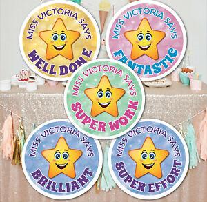 70 Personalised School Teachers Children Parents Well Done Reward Sticker Label