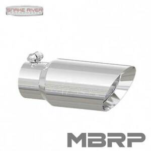 """MBRP STAINLESS STEEL EXHAUST TIP 3"""" INLET 4"""" OUTLET 10"""" LENGTH DUAL WALL ANGLED"""