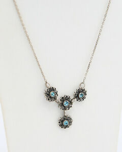 Vintage 1960s Silver 925 Necklace with Four Silver Flowers