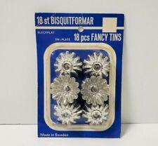 """18 Vintage Sweden Tiny Tart Fluted Metal Fancy Tin Molds 1 3/4"""" Bleckplat NIP"""