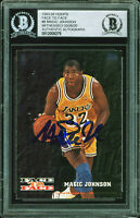 Lakers Magic Johnson Signed 1993 Hoops Face To Face #8 Card BAS Slab #12008279