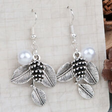 Earrings Antique Silver White Pine Cone Leaf Imitation Pearl with gift bag