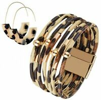 Women's Leopard Printed Multilayer Leather Bracelet Acrylic Earrings Jewelry Set