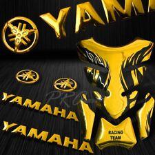 "Chrome Gold Tribal Fire Tank Pad+6""Logo+Letter Fairing Emblem for Yamaha Sticker"