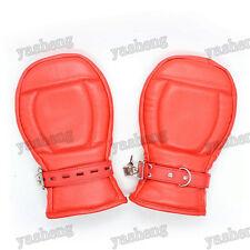 Rojo Con Cerradura De Calidad De Cuero Pu privación sensorial Fetiche Mitones Bondage Guantes