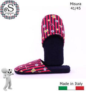 Ciabatte, ciabattine, Pantofole Uomo 41/45 Idea Regalo Rosso Nero TIFOSO Milan
