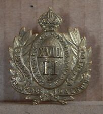 18th Hussars Other Ranks Cap Badge Kings Crown  good quality restrike