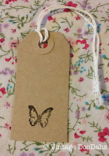 Vintage Style Gift/ Luggage Tags - Hand stamped - Pack of 10 -Butterfly -Wedding