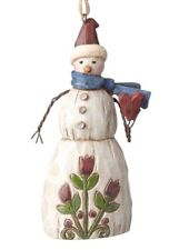 JIM SHORE~FOLKLORE SNOWMAN WITH HEART~ORNAMENT~CHRISTMAS~WINTER~NEW 2017~4058773