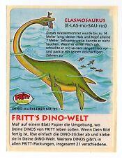 Dino-Welt - 1980s Fritt Germany Sticker #21 Elasmosaurus Long-Necked Dinosaur