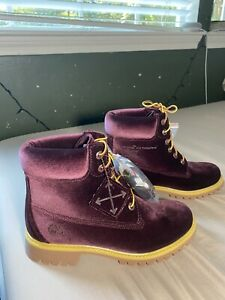 Off-White X Timberland Women's Red Velvet Ankle Boots Size 9.5 NEW RARE Virgil