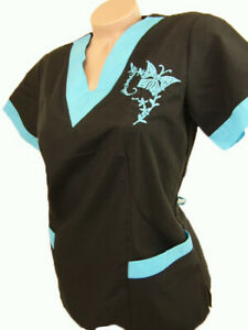 New Women Nursing Scrub Black Turquoise Embroidery Butterfly Poly/Cotton Top XL