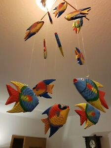 Mobile Holz Fisch Deko Fische bunt  Windspiel handgeschnitzt  bemalt aus Bali 60