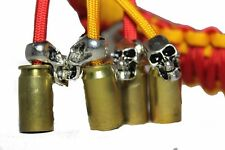 """biker whip motorcycle get back 36"""" punisher skull .45 paracord Red and Gold"""