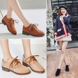 Spring Ladies Chunky Heels Suede Pumps Lace up Casual Collegiate Shoes Size NEW