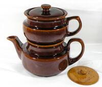 Vintage 4 Piece McCoy or Hull Brown Ceramic Drip Coffee Pot