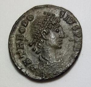 Ancient Roman Empire Coin Theodosius I 379-395AD  VOT XX AE4 Small Coin