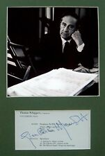 1959 Composer MENOTTI Hand SIGNED AUTOGRAPH Apocalypse + PHOTO + DECORATIVE MAT
