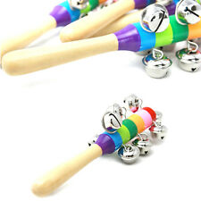 Baby Kids Rainbow Musical Instrument Toy Wooden Hand Jingle Ring Bell Rattle UK