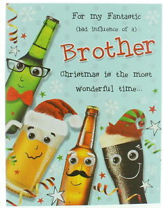 """Brother Christmas Card - Beer With Faces With Stars & Snowflakes 7.5"""" x 5.75"""""""