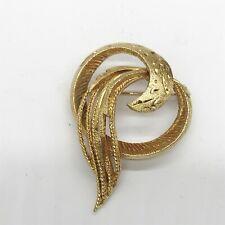 Costume Jewellery Ladies Brooch Vintage Gold Plated Swirl