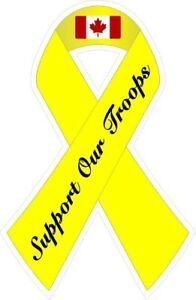 Support Our Canadian Troops Ribbon Decal / Sticker