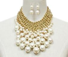Gold Tone and Cream Faux Pearl Drop Necklace with Dangling Earrings