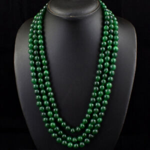 805.00 Cts Earth Mined 3 Line Green Emerald Round Shape Beads Necklace JK 29E245