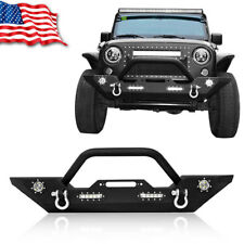 Front Bumper with Built-in LED Lights and  For 07-18 Jeep Wrangler JK Unlimited