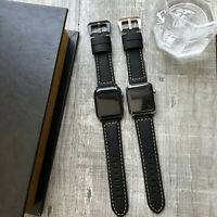For Apple Watch Series 6 SE 5 4 40mm 44mm Black Bull Leather iWatch Strap Band