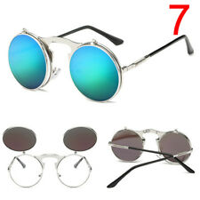 Fashion Retro Vintage Gothic Round Flip Up Sunglasses Steampunk Glasses KQ