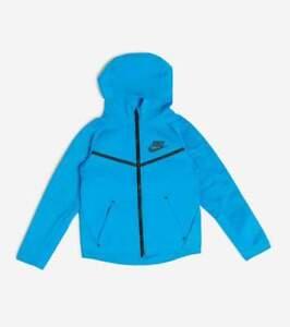 Nike NSW Jacket Tech Fleece Full Zip Hooded Blue Size Boys 6 7 NWT $85 MSRP