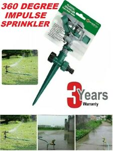 Water Sprinkler Garden Lawn Impulse Metal Spike Grass Hose 360 Degree