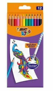 Bic Kids Colour & Erase Colouring Pencils pack of 12, kids school art stationery