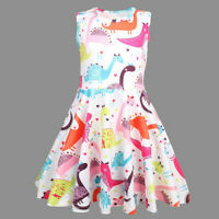 Toddler Kids Baby Girl Cute Dinosaur Printed Tunic Casual Princess Party Dresses