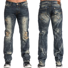 New Affliction $145 Ace Collins Heavy Distressed Jeans Travertine Dark 32 x 34