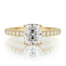 1.75 CARAT H SI2 CUSHION SOLITAIRE DIAMOND ENGAGEMENT RING 14K YELLOW GOLD