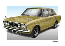 FORD CORTINA MK2 PRINT - PERSONALISED ILLUSTRATION OF YOUR CAR