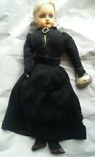 "Antique Victorian Blonde German ? 13"" Cloth Body Teeth Original Purse Stunning"