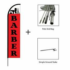 Barber Shop Feather Flag Swooper Banner Pole Kit Outdoor Sign Display, Red 15ft