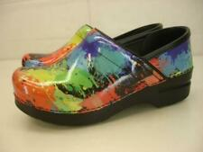 Women's 5.5 6 36 Dansko Professional Stapled Paint Splatter Patent Leather Clogs