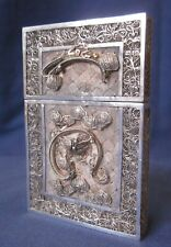 Antique Chinese solid silver fine fretwork filigree card case raised dragons