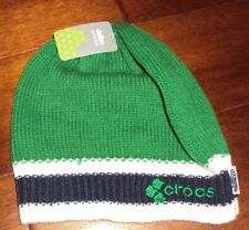 * CROCS Crocband Beanie Skull Knit Hat Boys Green Blue One Size Youth 4 5 6 7 8