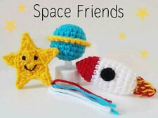 Crochet Knitted Handmade Catnip Cat Toy Space Rocket Planets Star Solar System